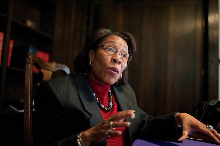 UNITED STATES - FEBRUARY 12:  Rep. Marcia Fudge, D-Ohio, is interviewed by Roll Call after a Sunday service at Mt. Zion Congregational Church in Cleveland, Ohio. (Photo By Tom Williams/CQ Roll Call)