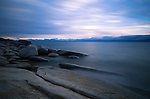 Nevada, western, Tahoe. The eastern shore of Lake Tahoe at sunset in autumn.