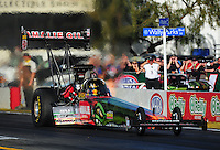 Feb. 9, 2012; Pomona, CA, USA; NHRA top fuel dragster driver Terry McMillen during qualifying at the Winternationals at Auto Club Raceway at Pomona. Mandatory Credit: Mark J. Rebilas-