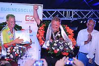 ZEILEN: LEMMER:  09-08-2014, IFKS skûtsjesilen, huldiging kampioenen,  Jilles Bandstra (B klasse), Jelle Talsma (A klasse), ©foto Martin de Jong