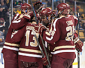 Kevin Hayes (BC - 12), Johnny Gaudreau (BC - 13), Bill Arnold (BC - 24), Scott Savage (BC - 28) - The Boston College Eagles defeated the Boston University Terriers 3-1 (EN) in their opening round game of the 2014 Beanpot on Monday, February 3, 2014, at TD Garden in Boston, Massachusetts.