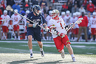 College Park, MD - March 18, 2017: Maryland Terrapins Matt Rambo (1) scores a goal during game between Villanova and Maryland at  Capital One Field at Maryland Stadium in College Park, MD.  (Photo by Elliott Brown/Media Images International)