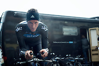 3 Days of West-Flanders, day 1: Middelkerke prologue.Salvatore Puccio warming up