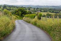 Hadrian's Wall Footpath Briefly Follows Tarmac Road below Walton,  Cumbria, England, UK.