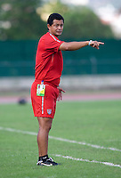 US head coach Wilmer Cabrera talks to his team from the sideline during the first day of the group stage at the CONCACAF Men's Under 17 Championship at Catherine Hall Stadium in Montego Bay, Jamaica. The United States defeated Cuba, 3-1.