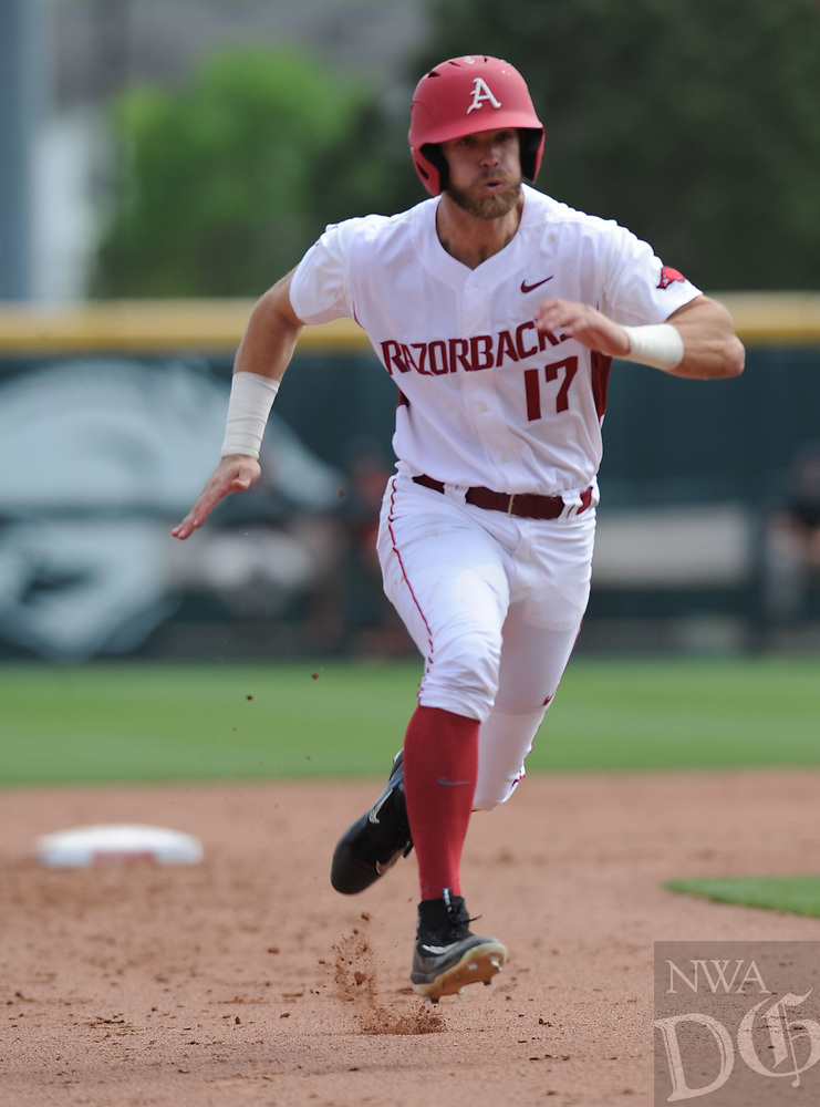 NWA Democrat-Gazette/ANDY SHUPE<br />Arkansas left fielder Luke Bonfield heads to third against Georgia Saturday, April 15, 2017, during the fourth inning at Baum Stadium in Fayetteville. Visit nwadg.com/photos to see more photographs from the game.