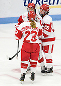 Isabel Menard (BU - 20), Sarah Bayersdorfer (BU - 23), Louise Warren (BU - 28) - The Boston University Terriers defeated the visiting Union College Dutchwomen 6-2 on Saturday, December 13, 2012, at Walter Brown Arena in Boston, Massachusetts.