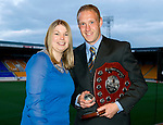 Jeanfield 208 St Johnstone Supporters Club Player of the Year Award to Steven Anderson presented by Hayley Thomson..Picture by Graeme Hart..Copyright Perthshire Picture Agency.Tel: 01738 623350  Mobile: 07990 594431