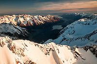 Sunset on Main Divide with Tasman Glacier and lake visible, Westland National Park, West Coast, Westland Tai Poutini National Park, World Heritage Area, New Zealand