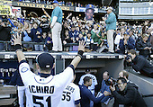 04 October 2009: Seattle Mariners right fielder #51 Ichiro Suzuki thanks the fans one last time before going into the clubhouse after helping defeat the Texas Rangers. Seattle won 4-3 over the Texas Rangers at Safeco Field in Seattle, Washington.