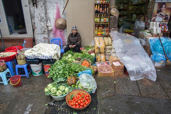 Fruit and vegetable market, Hanoi, Vietnam.