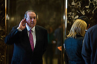Former Governor Mike Huckabee (Republican of Arkansas) arrives inside of the lobby of Trump Tower in Manhattan, New York, U.S., on Friday, November 18, 2016. <br /> Credit: John Taggart / Pool via CNP /MediaPunch