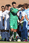 18 September 2015: Notre Dame's Chris Hubbard (13) leads his team as the players shake hands before the game. The University of North Carolina Tar Heels hosted the University of Notre Dame Fighting Irish at Fetzer Field in Chapel Hill, NC in a 2015 NCAA Division I Men's Soccer match. North Carolina won the game 4-2