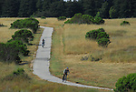 Bicyclists on UCSC bike trail in meadow