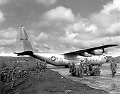 A United States Air Force C-130 transport turns at the end of the short runway at Bam Bleh, Vietnam.  The transport was one of several taking troops of the First Cavalry Division back to their base camp at An Khe after an operation.  Air Force aircraft made daily flights to fields like this one carrying troops and supplies to front line units on 23 November 1966..Credit: U.S. Air Force via CNP