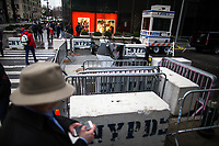 NEW YORK, NY - APRIL 4: Pedestrian walk along 56 street as NYPD officers stand guard in a booth Where United States First Lady Melania Trump is living at Trump Tower on April 4, 2017 in Manhattan, New York. Police Commissioner James O'Neill told lawmakers in February it costs the NYPD between $127,000 and $146,000 a day to protect the first lady and her 11-year-old son Barron. When the president is in town, the city pays more than $308,000.  Photo by VIEWpress/Eduardo MunozAlvarez