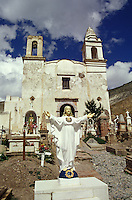 Graves in front of the Templo de Guadalupe church in the 19th-century  silver-mining town of Real de Catorce, San Luis Potosi state, Mexico. Real de Catorce became a virtual ghost town during the early part of the 20th century. It has recently become a popuar destination for travellers.
