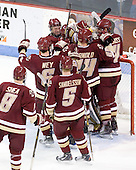 The Boston College Eagles celebrate their win. - The visiting Boston College Eagles defeated the Boston University Terriers 3-2 to sweep their Hockey East series on Friday, January 21, 2011, at Agganis Arena in Boston, Massachusetts.