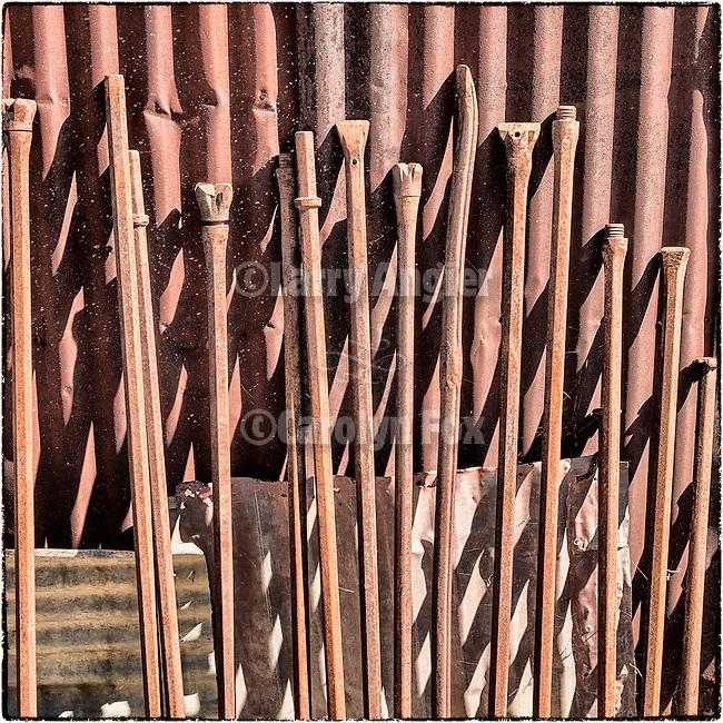 Steel drill rods, Historic mining park, Tonopah, Nev.