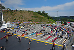 Jun. 17, 2011; Bristol, TN, USA: NHRA super comp cars sit lined up in the staging lanes during qualifying for the Thunder Valley Nationals at Bristol Dragway. Mandatory Credit: Mark J. Rebilas-