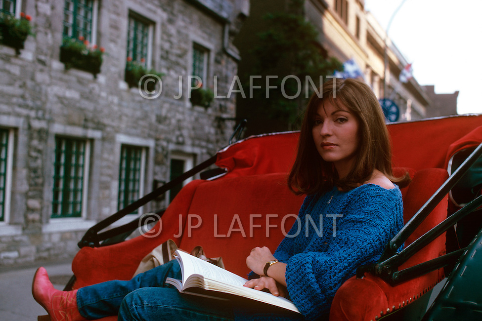 July 29, 1980, Montreal, Canada. On the set of the film The Hot Touch, directed by Roger Vadim, Marie-France Pissier is one of the main characters in the movie.