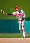 24 May 2015: Philadelphia Phillies infielder Cesar Hernandez make a play to get an out during a game against the Washington Nationals at Nationals Park in Washington, DC. The Nationals defeated the Phillies 4-1 to take the rubber game of their 3-game weekend series. Mandatory Credit: Ed Wolfstein Photo *** RAW (NEF) Image File Available ***
