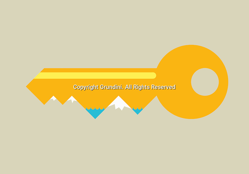 Abstract landscape with mountains and water inside a key  ExclusiveImage ExclusiveArtist