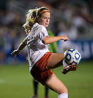 Makenzy Doniak (9) of Virginia flicks the ball backwards during the Women's College Cup semifinals at WakeMed Soccer Park in Cary, NC. UCLA advance on penalty kicks after typing Virginia, 1-1 in regulation time.
