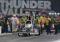 Jun. 19, 2011; Bristol, TN, USA: NHRA top fuel dragster driver Austin Lambright during eliminations at the Thunder Valley Nationals at Bristol Dragway. Mandatory Credit: Mark J. Rebilas-