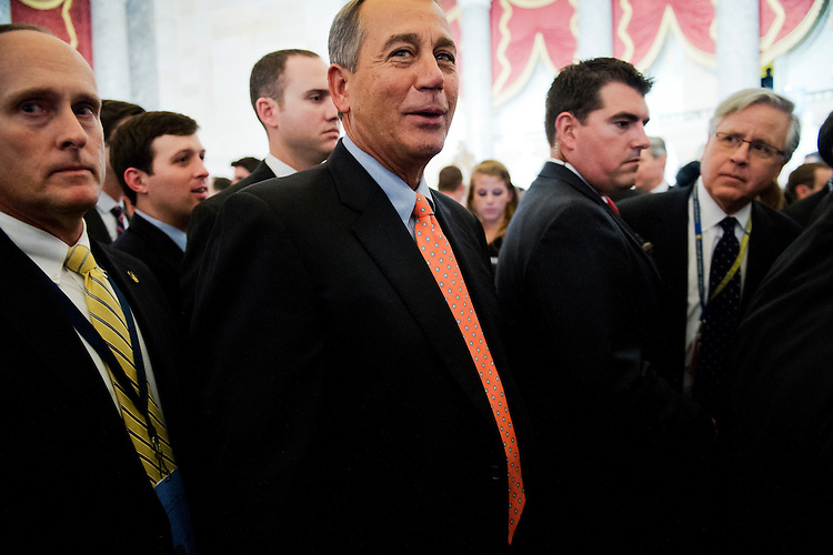 UNITED STATES - FEBRUARY 12:  Speaker John Boehner, R-Ohio, makes his way through Statuary Hall after President Barack Obama delivered his State of the Union address to Congress in the House chamber. (Photo By Tom Williams/CQ Roll Call)