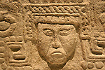 Face of Mayan ruler from Yaxcaba,  Gran Museo del Mundo Maya museum in Merida, Yucatan, Mexico      .