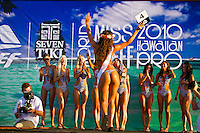 Haleiwa Hawaii,(Saturday November 13, 2010) The 2010 World Miss Reef Hawaiian Pro, presented by Seven Tiki Rum, kicked off November 13th at Ali'i Beach Park at 4pm. Miss Reef hopefuls arrived from countries like Panama, the Netherlands, Indonesia, Chile and the U.S. to compete for the World Miss Reef Title. The winner, Betzy from Panama will appear in the renowned Miss Reef Calendar and receives $10,000 worth of cash prizes. Surfers Connor Coffin (USA) Rob Machado (USA) and Dean Morrison (AUS) were members of the judging panel..Photo: joliphotos.com
