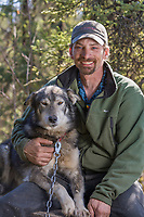 Sled dog mushing champion Lance Mackey with his famous lead dog Larry, at his home in Fairbanks, Alaska