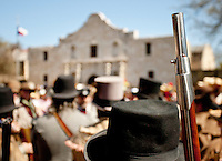 In this photograph provided by VisitSanAntonio.com, via AP Images, history re-enactors gather in front of the Alamo, Saturday, March 5, 2011, in San Antonio. Special events are being staged throughout 2011 in honor of the 175th anniversary of the Battle of the Alamo. (Darren Abate/VisitSanAntonio.com via AP Images)
