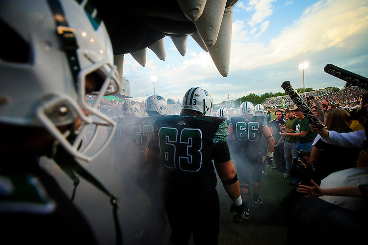 The Ohio University football team enters the field at home before playing Marshall University Sept. 17, 2011 at Peden Stadium in Athens, OH. Ohio beat Marshall 44-7 to receive their first win in the rivalry game since 2000.