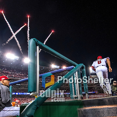 13 October 2016: Washington Nationals infielder Danny Espinosa emerges from the dugout to start Game 5 of the NLDS against the Los Angeles Dodgers at Nationals Park in Washington, DC. The Dodgers edged out the Nationals 4-3, to take Game 5 of the Series, 3 games to 2, and move on to the National League Championship Series against the Chicago Cubs. Mandatory Credit: Ed Wolfstein Photo *** RAW (NEF) Image File Available ***
