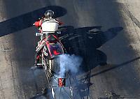 Jun 17, 2016; Bristol, TN, USA; NHRA top fuel Harley motorcycle rider Julian Seeman during qualifying for the Thunder Valley Nationals at Bristol Dragway. Mandatory Credit: Mark J. Rebilas-USA TODAY Sports