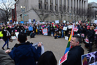 Washington, DC - February 11, 2017: Hundreds of people gathered near the White House in Washington February 11, 2017 for a protest, organized by United We Dream, against the latest immigration raids and deportations by U.S. Immigration and Customs Enforcement agents.  (Photo by Don Baxter/Media Images International)