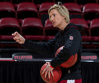 Stanford, CA., March 25, 2013,-- Kate Paye assistant coach for the Stanford Women's basketball team during practice for there second round NCAA 2013 basketball championship game against Michigan on Monday, March 25, 2013, at Maples Pavilion.  ( Norbert von der Groeben )