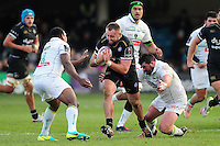 Tom Dunn of Bath Rugby takes on the Pau defence. European Rugby Challenge Cup match, between Bath Rugby and Pau (Section Paloise) on January 21, 2017 at the Recreation Ground in Bath, England. Photo by: Patrick Khachfe / Onside Images