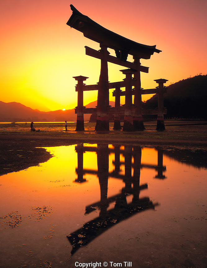 The Floating Torii Miyajima Island Japan Symbol of Japan built in 1875 Mountain and Island Sea beyond