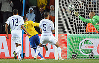 Luis Fabiano of Brazil heads his side's second goal. Brazil defeated USA 3-2 in the FIFA Confederations Cup Final at Ellis Park Stadium in Johannesburg, South Africa on June 28, 2009.