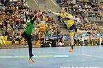 GER - Mannheim, Germany, September 23: During the DKB Handball Bundesliga match between Rhein-Neckar Loewen (yellow) and TVB 1898 Stuttgart (white) on September 23, 2015 at SAP Arena in Mannheim, Germany. Final score 31-20 (19-8) .  Stefan Rafn Sigurmannsson #11 of Rhein-Neckar Loewen, Sebastian Arnold #16 of TVB 1898 Stuttgart<br /> <br /> Foto &copy; PIX-Sportfotos *** Foto ist honorarpflichtig! *** Auf Anfrage in hoeherer Qualitaet/Aufloesung. Belegexemplar erbeten. Veroeffentlichung ausschliesslich fuer journalistisch-publizistische Zwecke. For editorial use only.