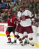 Ben Masella (SLU - 3), Jacob Olson (Harvard - 26) - The Harvard University Crimson defeated the St. Lawrence University Saints 6-3 (EN) to clinch the ECAC playoffs first seed and a share in the regular season championship on senior night, Saturday, February 25, 2017, at Bright-Landry Hockey Center in Boston, Massachusetts.