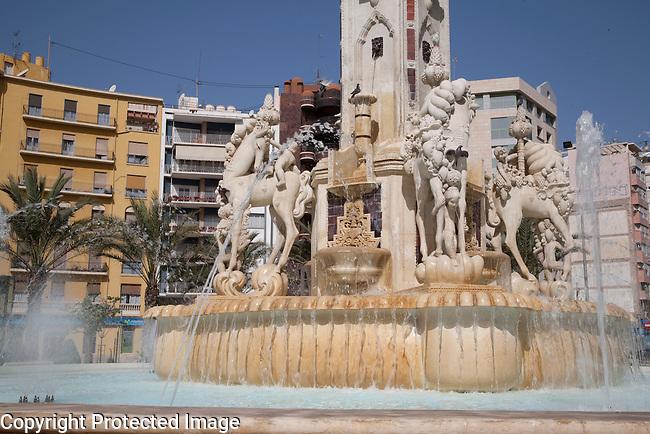 Fountain in Plaza de la Luceros Square in Alicante, Spain