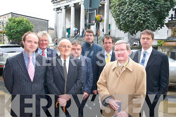 Members of the Kerry Law Society who are objecting to the relocation of the Courthouse to Ballymullen in Tralee, from left Solicitors Niall Lucey, John Galvin, Pat Mann, Matt Breslin, Stephen Kennedy, Michael Stack, Joe Mannix, Pat Daly.   Copyright Kerry's Eye 2008