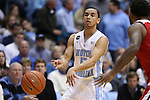 24 February 2015: North Carolina's Marcus Paige. The University of North Carolina Tar Heels played the North Carolina State University Wolfpack in an NCAA Division I Men's basketball game at the Dean E. Smith Center in Chapel Hill, North Carolina. NC State won the game 58-46.