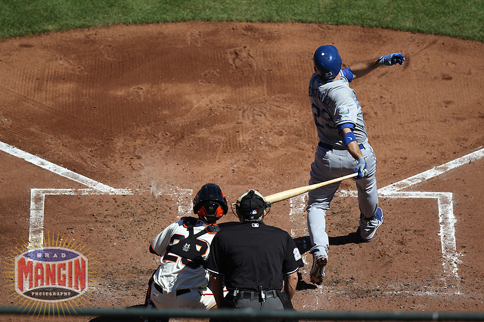 SAN FRANCISCO - SEPTEMBER 8:  Adrian Gonzalez of the Los Angeles Dodgers bats during the game against the San Francisco Giants at AT&T Park on September 8, 2012 in San Francisco, California. (Photo by Brad Mangin)