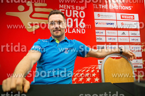 Luka Zvizej during press conference of Team Slovenia on Day 1 of Men's EHF EURO 2016, on January 15, 2016 in Hotel Mercure Wrocław Centrum, Wroclaw Poland. Photo by Vid Ponikvar / Sportida