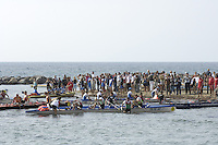 San Remo, ITALY,  Sat.  Men's M4X+,  crew make for the shore after competing in the final, 2008 FISA Coastal World Championships. Saturday 18/10/2008.[Photo, Peter Spurrier/Intersport-images] Coastal Rowing Course: San Remo Beach, San Remo, ITALY